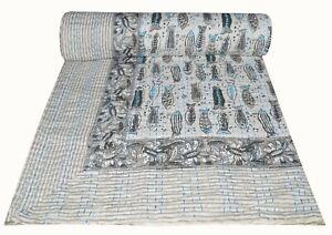 Floral Kantha Quilt Indian Handmade Bedspread Throw Cotton Gudari Blanket King