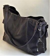 f57f28d1aebd Liz Claiborne Black Shoulder Bag Large Tote Stitched Drawstring Handbag  Purse