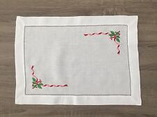 "White Mistletoe Christmas Hemstitch Linen Cloth 14""x 20"" Placemat Set of 4"