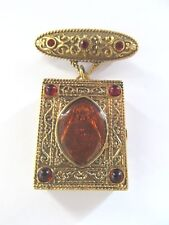 Guilloche Vatican Library Collection Bar Brooch with Attached Trinket Rosary