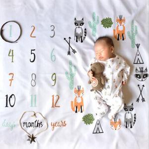 Baby Newborn Milestone Blanket Photography Background Prop Monthly Growth Photo