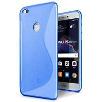 Huawei P8 Lite 2017 Cover Custodia Case Silicone S-Line BLU +Pellicola