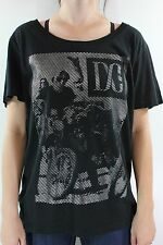New DC SHOES Womens Ruspin Biker T Shirt M Medium Black/Silver DR1