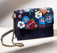 NEW Tory Burch Suede Leather Embroidered floral Chain Crossbody Shoulder Bag