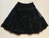 Vintage Sam's USA Black Petticoat Crinoline Rockabilly Ruffles Size Small EUC