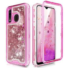 For Samsung Galaxy A10e A20 A30 A50 Hard Clear Glitter Flowing Liquid Bling Case