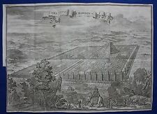 Stampa ANTICA ORIGINALE CITY & Torre di Babilonia, MESOPOTAMIA, Iraq, Fletcher 1747