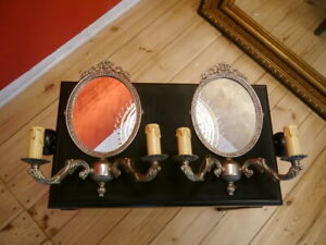 medium nickel silver mirror art deco wall lamp pair old sconces 2 lights