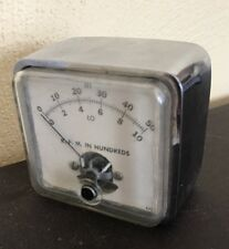 Vintage RPM Gauge Meter Chrome Housing Steampunk B4