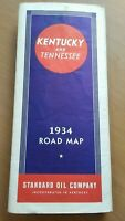 Vintage 1934 Standard Oil Kentucky Tennessee Road Map