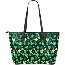 St. Patrick's Day Irish Green Large Leather Tote Bag Christmas Gift