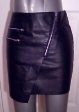 H&m femme noires en cuir synthétique pu Crayon Mini Jupe uk8 eu34 us4 Taille w27in w69c