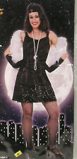 Women's Halloween Costume Size M 8-10, Black Sexy Flirty Flapper Dress Head Band
