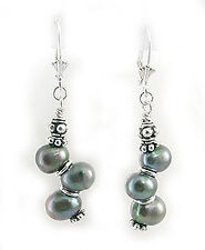 Cultured Freshwater Peacock Pearl Beaded Sterling Silver Leverback Earrings