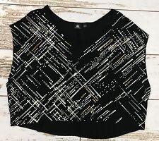62be24eb6828a Rock   Republic Black Studded White Gold Crop Shirt Top Juniors Ladies Size  XS