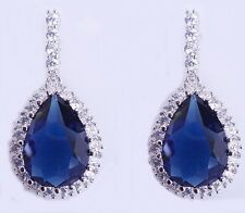 Sapphire Blue Swarovski Elements Clear Crystal Tear Drop Silver Bridal Earrings