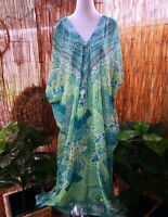Plus Size Green Paisley Sheer Embellished Kaftan Size 16-18-20-22-24-26 OSFA