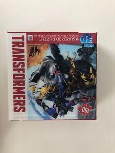"""Milton Bradley TRANSFORMERS SUPER 3D PUZZLE 150 Pieces 18""""X12"""" NEW Sealed"""