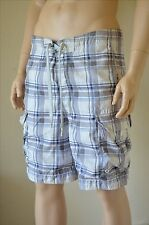 Abercrombie & Fitch Goodnow Mountain Swim Board Shorts Grey Plaid L RRP £64