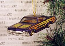 '65 CHEVY IMPALA LOWRIDER 1965 PURPLE YELLOW CHEVROLET CHRISTMAS ORNAMENT XMAS