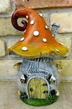 Mushroom Shaped Fairy House Village Decor Resin Welcome Garden Fairies Resin