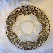 Floral Silver Overlay with Grape/Vines/Star design in glass Vintage Glass 578