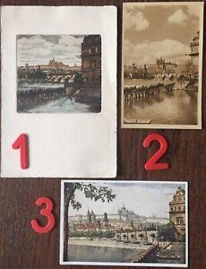 The same View of Prague Castle & Charles Bridge: photo & postcard & etching 1940