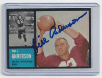 1962 REDSKINS Bill Anderson signed card Topps #169 AUTO Autographed packers
