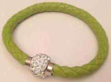 bracelet moderne tressé vert perle avec cristal diamant couleur argent 5354