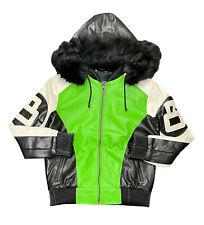 Men's Robert Phillipe Lime Green/White 8 Ball Jacket with Fur Hood