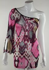 True Light Womens Size Small Pink Watercolor Off Shoulder Bodycon Mini Dress NWT