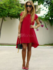 Red Shift Dress Chiffon Round Neck Low Back Short Sleeve High Low A Line Dress L