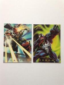 Lot of (2) 1994 Flair Marvel Power Blast Cable #1 & Venom #7 Insert Cards