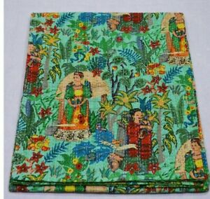 Frida Kahlo Printed Cotton Quilt Blanket Indian Queen Handmade Bedspread Kantha