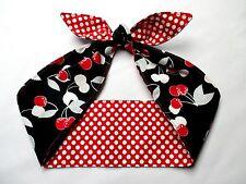 CHERRY Head Scarf Rockabilly PinUp Headband CHERRIES Print Polka Dot red black