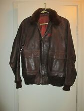 Military WWII Brown Leather Bomber Flight Jacket M-422a US Navy Willis & Geiger