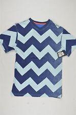 "NEW MEN'S ROCAWEAR ""ZIG ZAG"" V NECK BLUE STRIPED S/S TEE T SHIRT SZ S #34-69353"