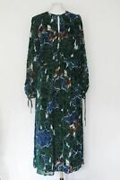 MASSIMO DUTTI Dress Ladies Green Velvet Floral Silk Long Flower Keyhole UK8