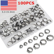 100Pc 5.3-15.3mm 304 Stainless Steel Single Ear Stelpess Hose Clamp Assorted Kit