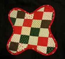 Quilted Patch Work Christmas Placemat Red Green White Odd Shaped