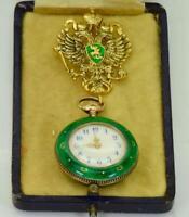 Rare antique Imperial Russian gilt silver&transparent enamel lapel brooch watch