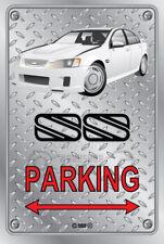 Parking Sign - Metal - BROCK HDT VH RETRO SS VE WHITE - CHECKER LOOK
