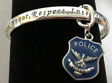 FASHION BANGLE twisted metal BRACELET Police charm edges inscribed + prayer card