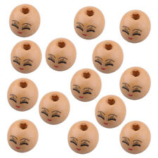 20pcs Wooden Round Painted Face & Eyebrows Loose Beads Charms 18mm x4mm
