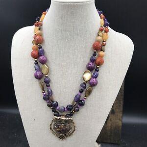 Barse Ecuador Necklace- Double Strand- Mixed Stones- Bronze- NWT
