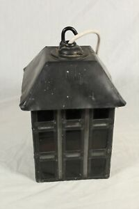 Vintage Heavy Lead Porch Lantern Hanging Red Stained Glass Arts & Crafts Gothic