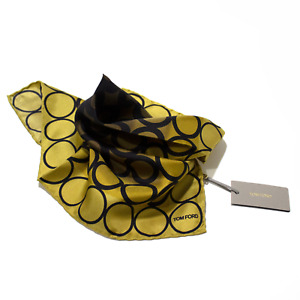Men's Tom Ford 100% Silk Yellow Black Ring Pattern Pocket Square MSRP $160