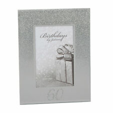 Silver Glitter & Mirror 4'x6' Photo Frame with Number - 60th Birthday