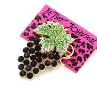 Women's Fashion Crystal Rhinestone Grapes Charm Betsey Johnson Brooch Pin Gift