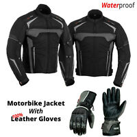 Motorcycle Waterproof Cordura Textile Jacket with Original Leather Gloves Grey